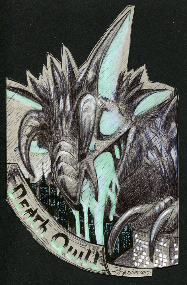 Featured image: Death Quill Kaiju badge