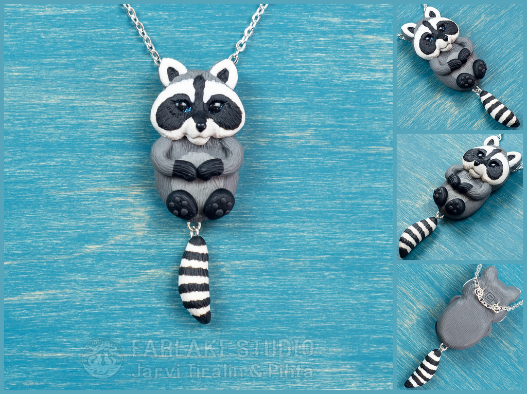 Chibi gray raccoon full body pendant - for sale