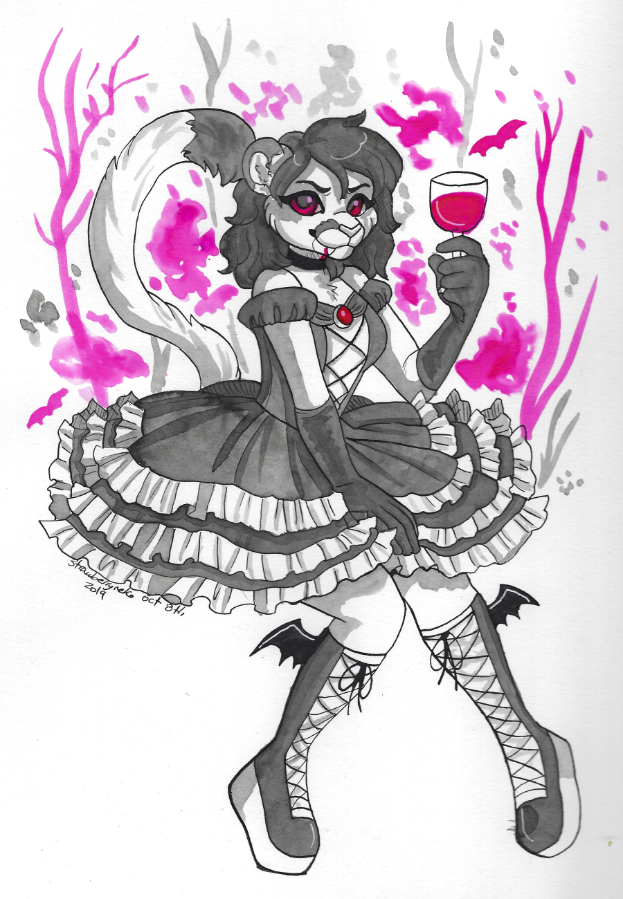 Inktober Day 8: Vampire Lolita
