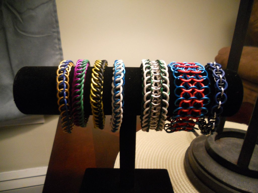Multiple Chainmaille Bracelets