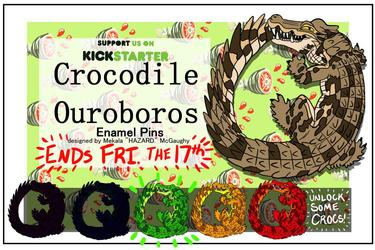CROCODILE OUROBOROS HARD ENAMEL PIN! GREEN CROC UNLOCKED!