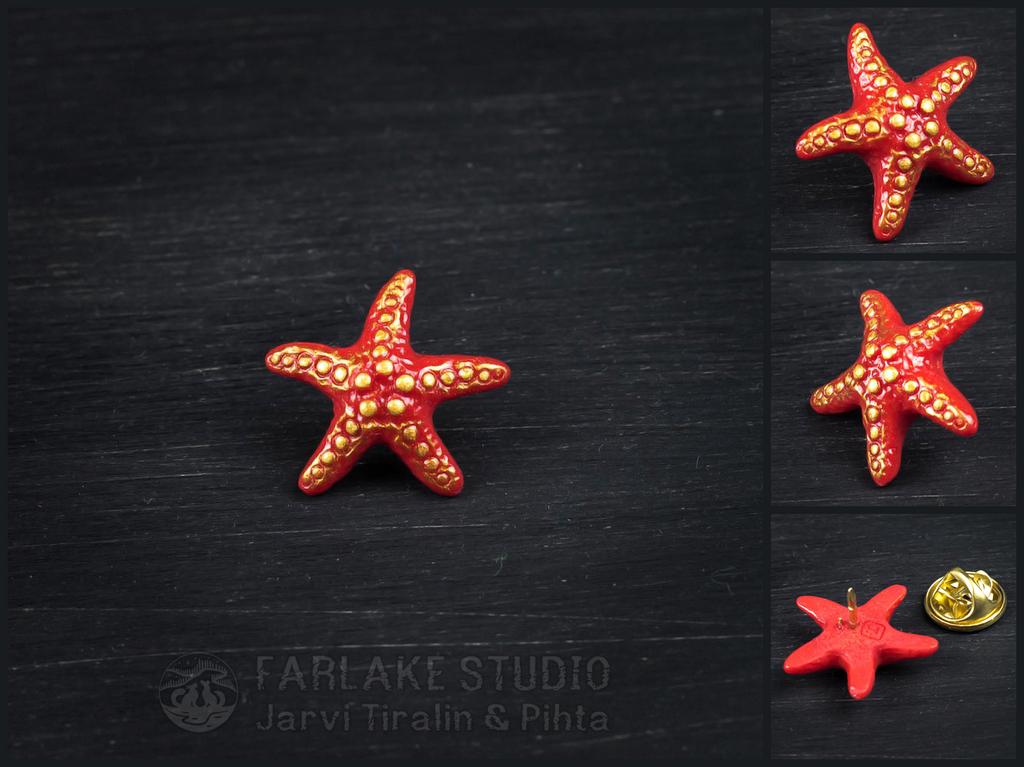 Red starfish pin