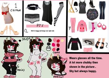 Vido's ref sheet (plus outfits)