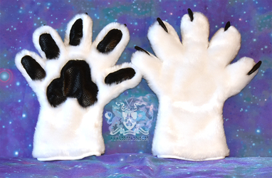 White Five Finger Paw Gloves