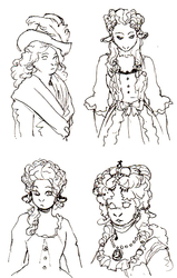 Olive Period Costumes Sketches