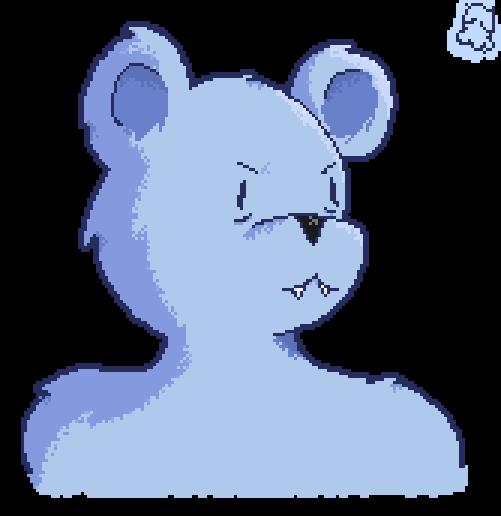 Blue Bear Pixel Bust