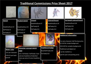 traditional commissions price sheet
