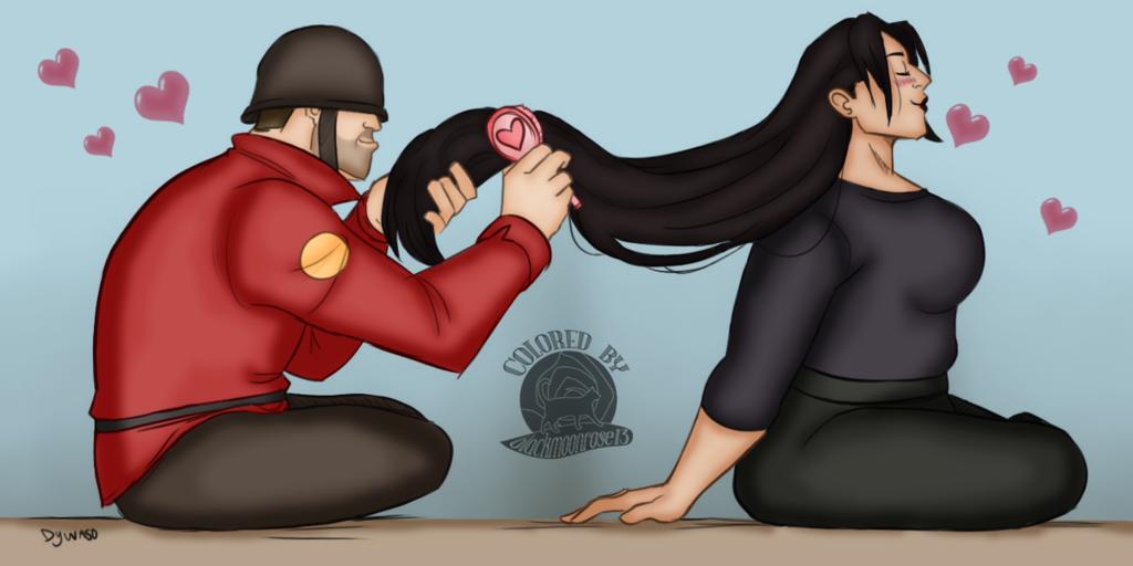 Soldier Brushing Zhannas Hair