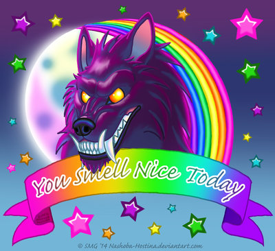 You Smell Nice Today -Lisa Frank style Werewolf