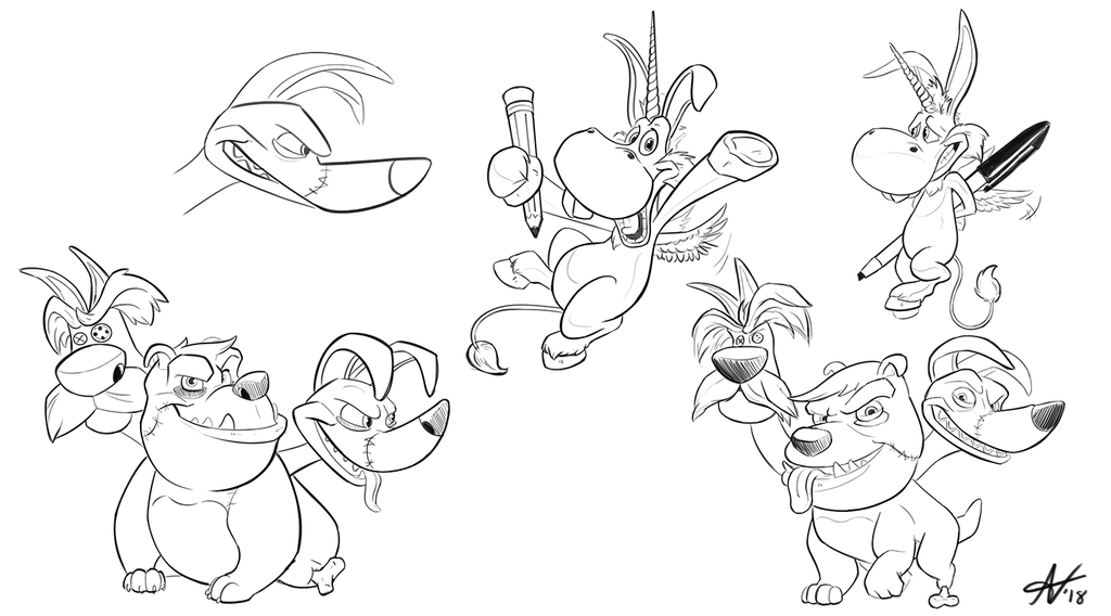 Happy! Commission Sketches 2