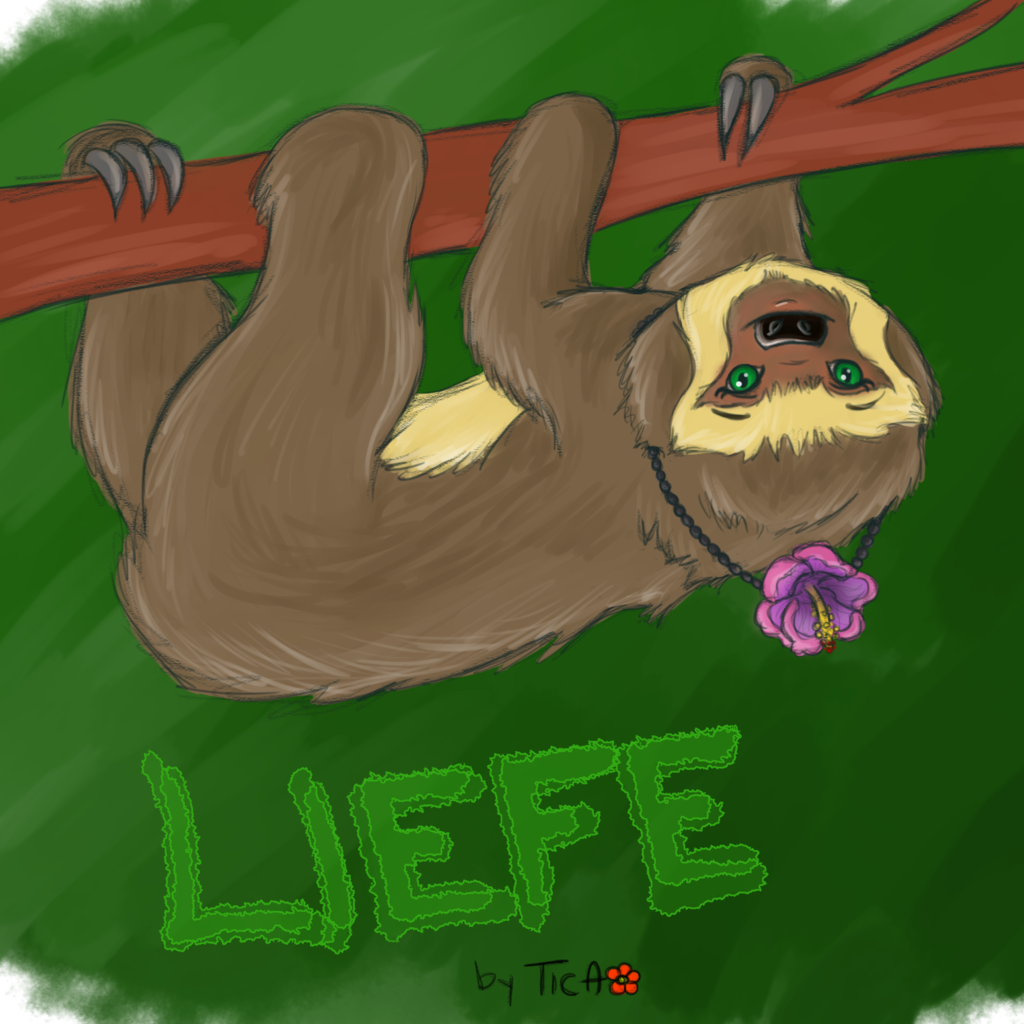 Trade: colored sketch for Liefe the sloth
