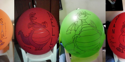"Dragons on Tuftex 24"" balloons"