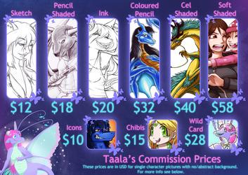 Taala's Commission Pricelist