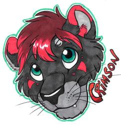 Teeny Headshot Badge - Crimson