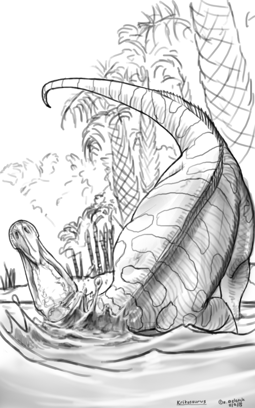 Dinovember - 2 - Kritosaurus bathing