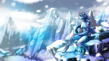 Snow Leopard girl in the mountain