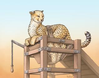 Portable shower cheetah - art by Predaderp