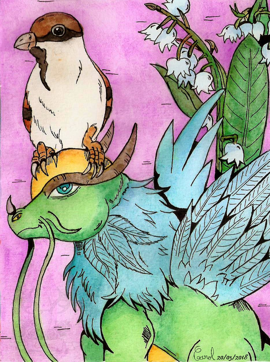 [Spring series #7] Fairy Dragon and a sparrow
