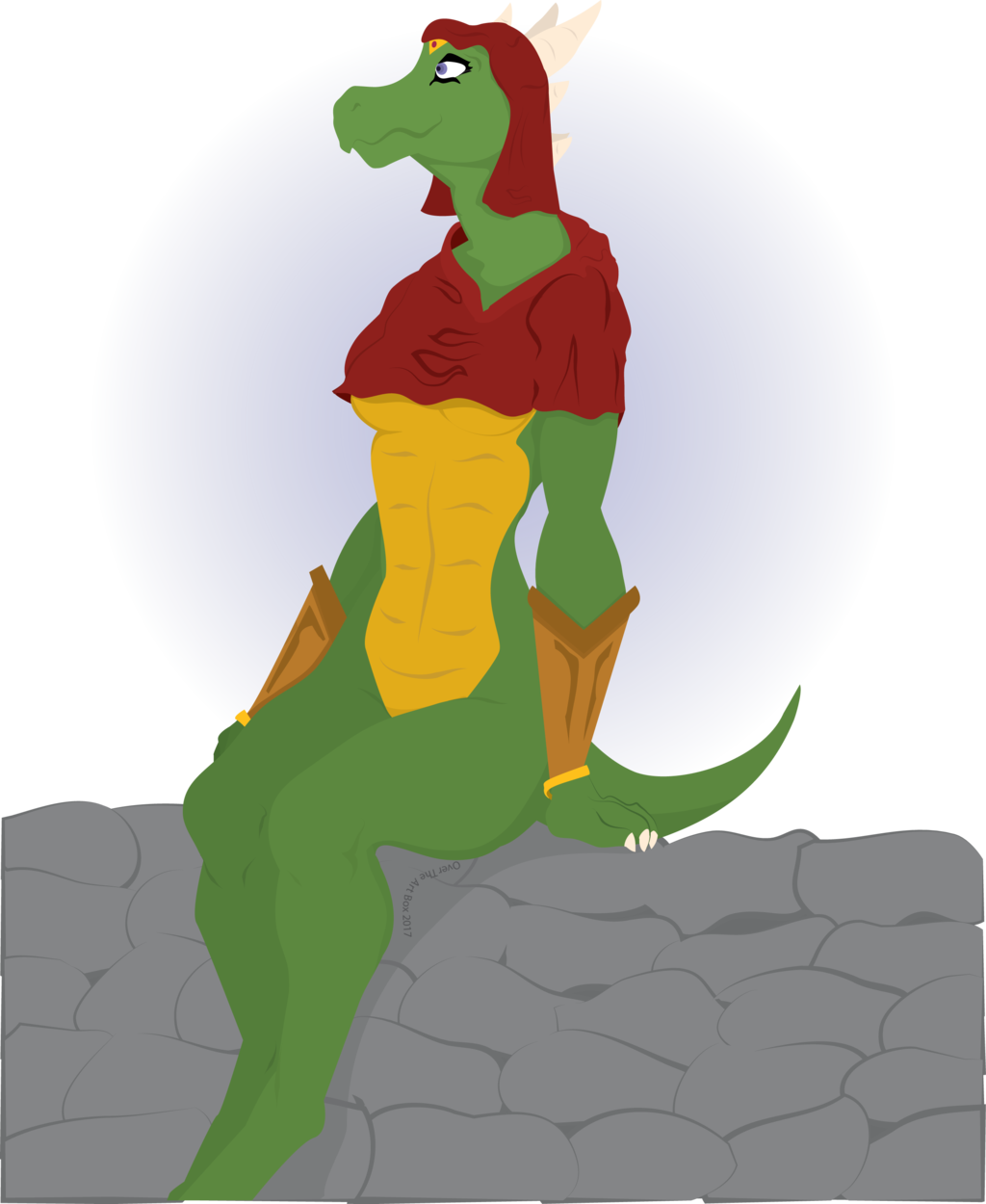 Argonian on a wall