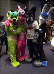2 out of 3 of the LuciFURs, a rabbit, and me at AC 2013!