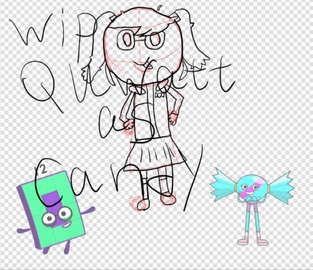 Most recent image: Wip of quwyatt from NFG as candy from AD
