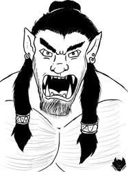 Inktober # 12 Orc Yelling