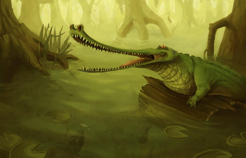 Crockagator cayman in a swamp.