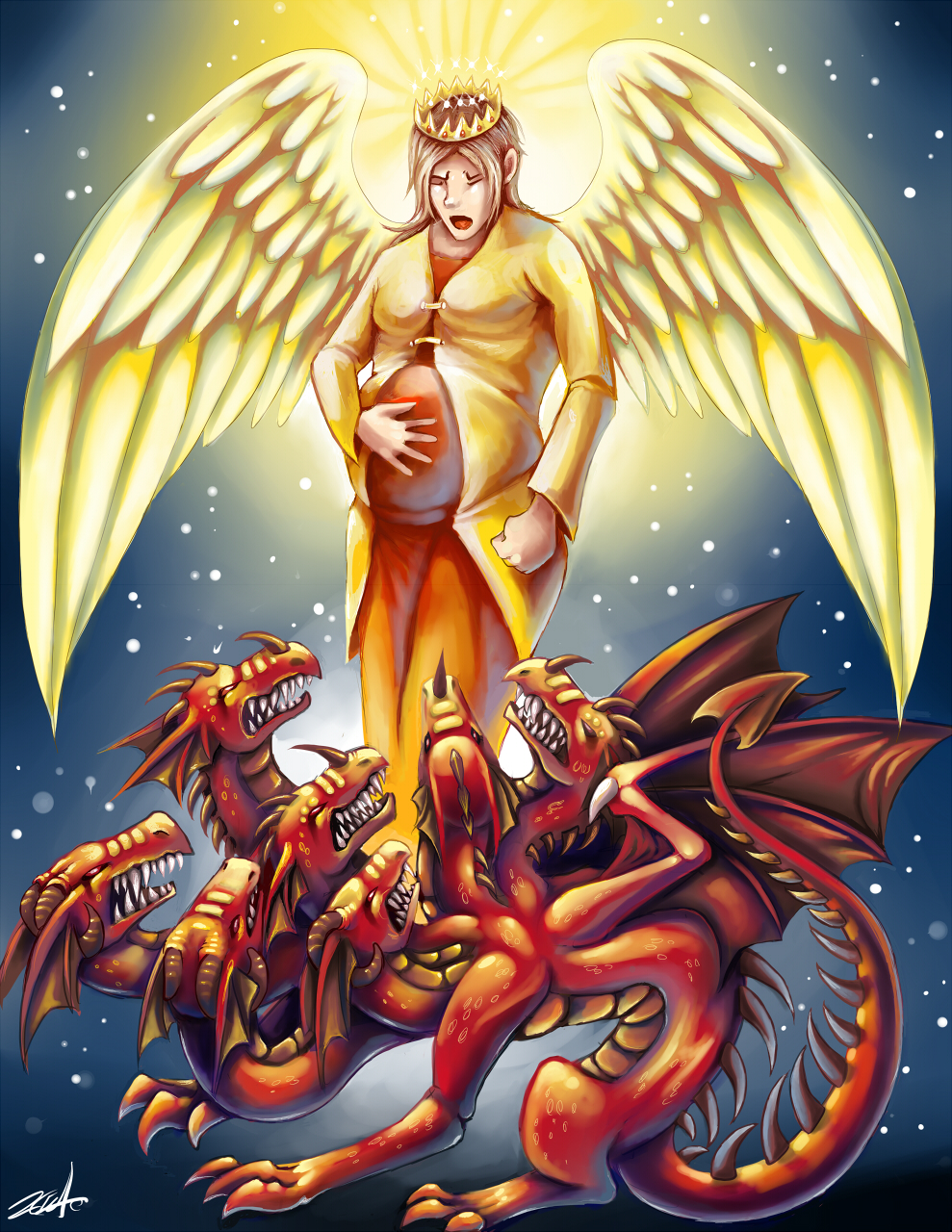 Biblical story - seven headed red dragon