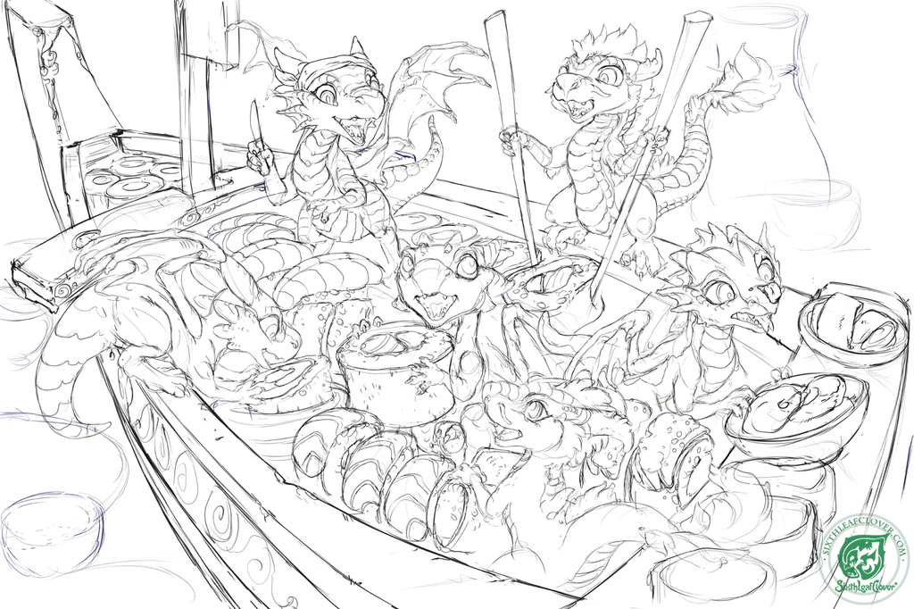 Dragon Whelps - Sushi Edition - Line work