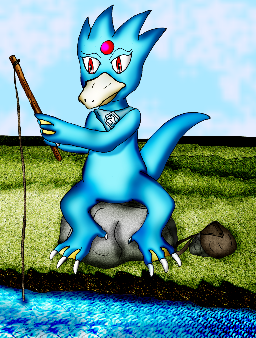 Lance the Golduck Fishing (Commission)