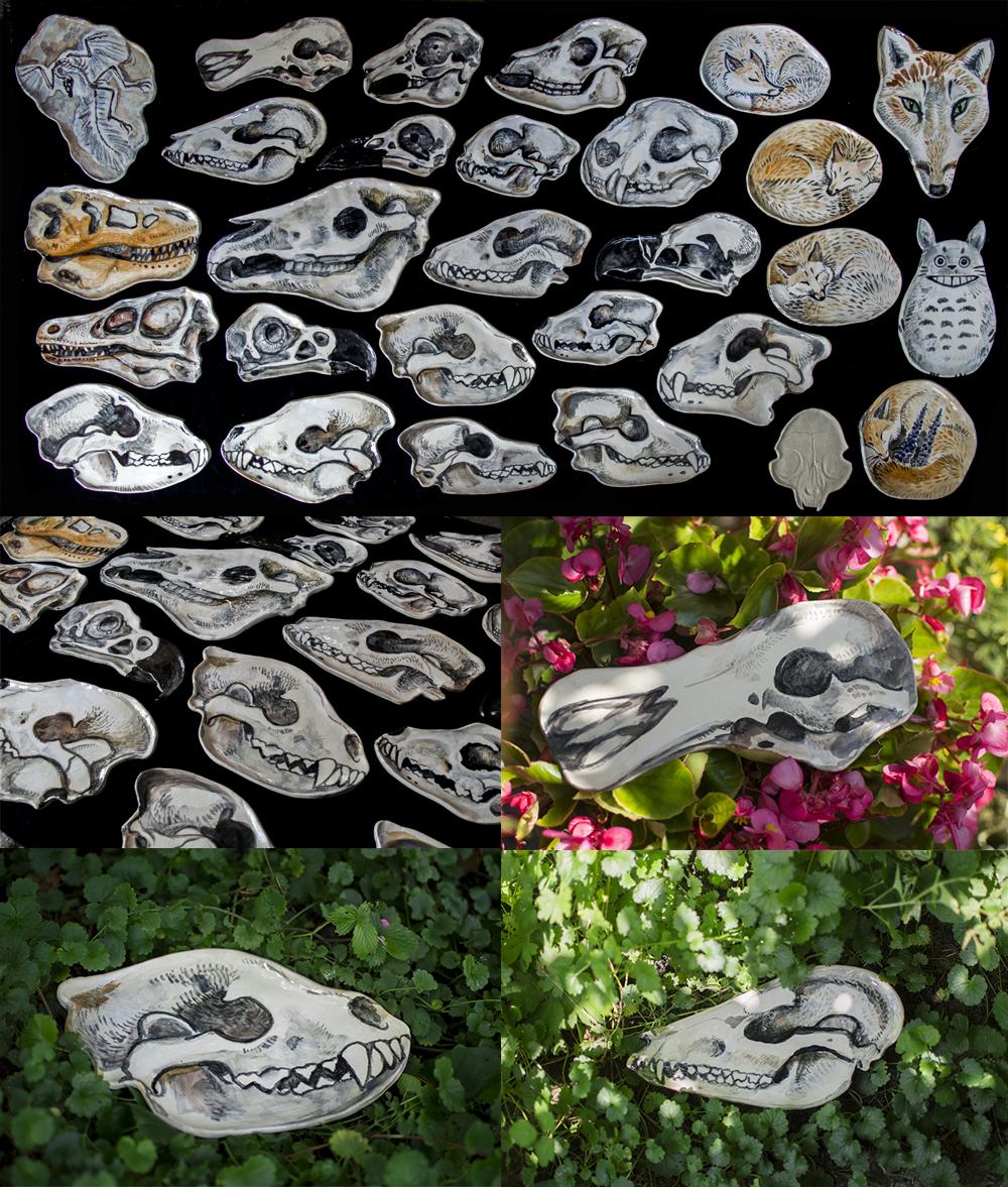 Handmade Ceramic Skull Plates