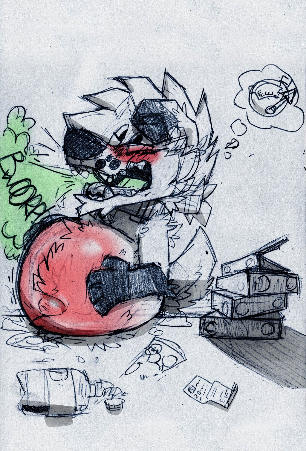 T-Too much pizza...*BURPS*
