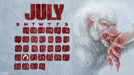 July werewolf desktop wallpaper calendar