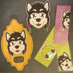 Mounted Head Badge, Bookmarks, & Luggage Tag - DJ Husky