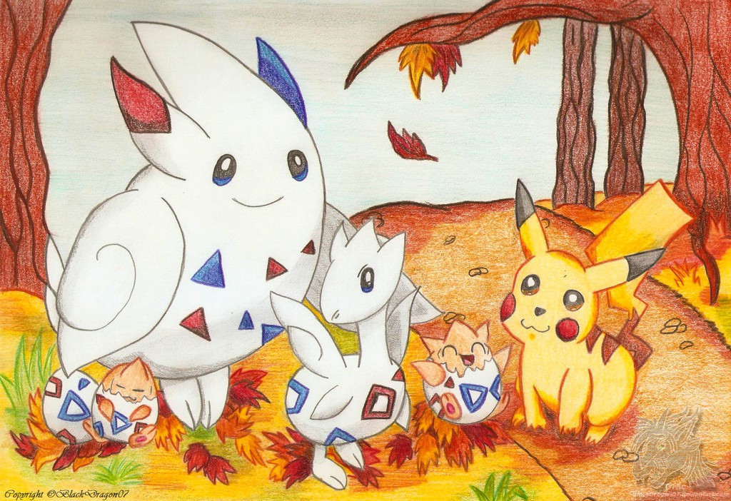 """The """"Toge"""" Family and Pikachu in Autumn"""