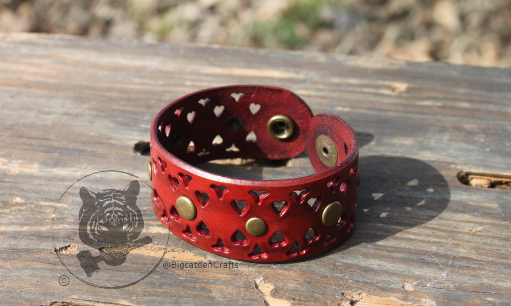 Antiqued, Studded, Red Filigree Bracelet