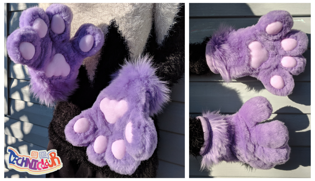 (FOR SALE) Lavender Fursuit Handpaws With Silicone Pawpads