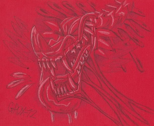 Drawing on red paper