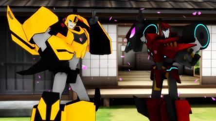 Transformers Bumblebee and Sideswipe Yoiyoi Kokon