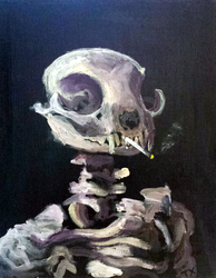 Cat Skull with Burning Cigarette