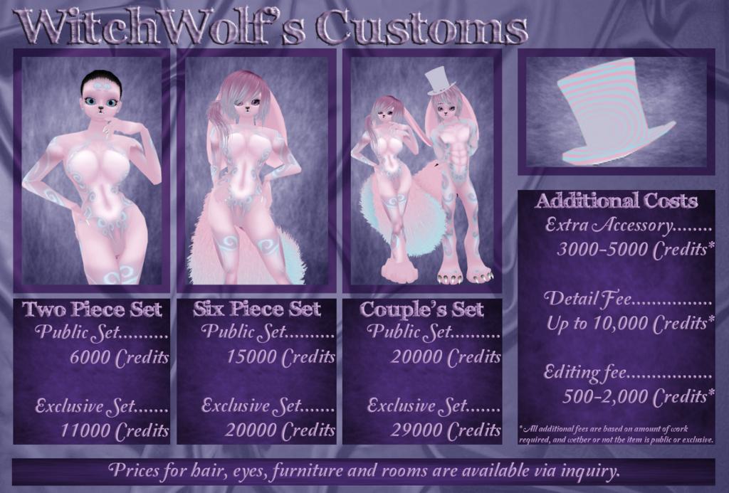 Wolf's Customs Price Sheet