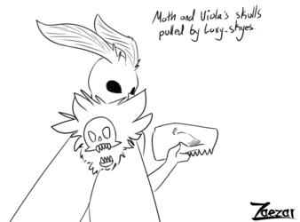 Prompt | Moth and Viola's skull