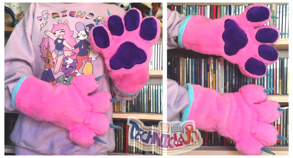 Pink Handpaws With Purple Pawpads and Blue Claws