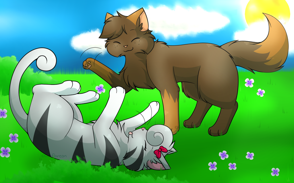 Commission - Play fight on a Grass field