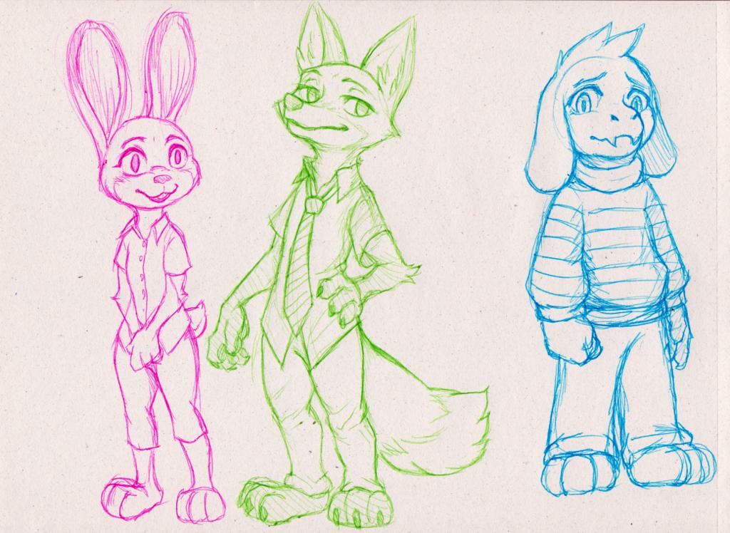 Judy, Nick, Asriel