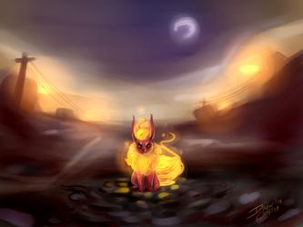 Flareon en la noche