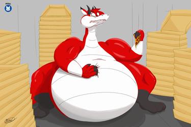 Dragon Rey Roo had a pizza feast
