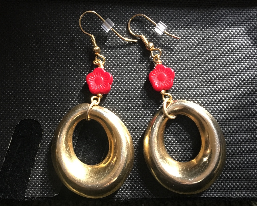 Red and Gold Floral Hoop Earrings