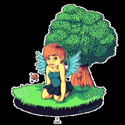 { Pixel Scene} -- Angel as a pixie