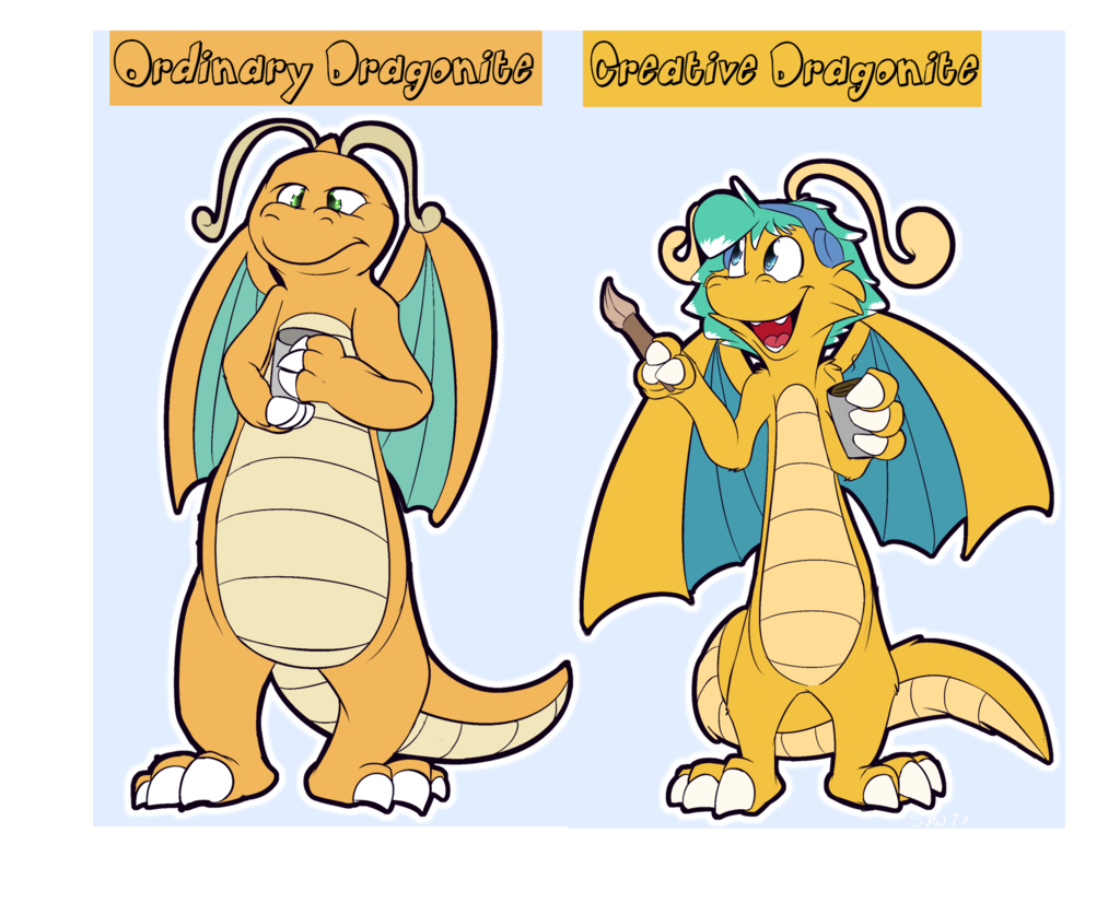 Ordinary Dragonite vs Creative Dragonite
